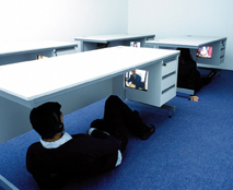 Saki Satom, Desk Project, 2005. Video installation. Photo by Michael Franke. Courtesy of the artist.