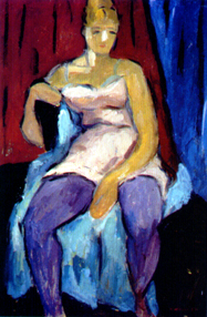 Herman Heimlich, Carmen in a Relaxed Mood, ca 1920. Oil on panel.