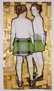 Jennifer Linton, Catholic Girls, 2004. Coloured pencil, ink, tape, composition leaf and cigarette foil on Mylar. Courtesy of the artist.